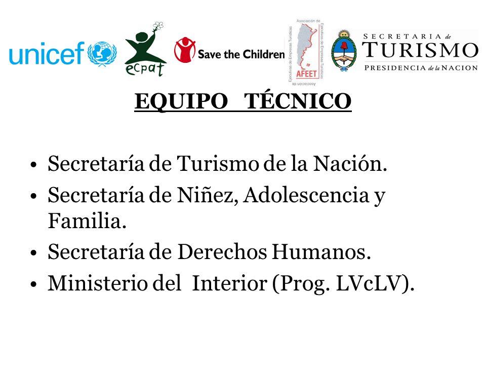 EQUIPO TÉCNICO Secretaría de Turismo de la Nación. Secretaría de Niñez, Adolescencia y Familia. Secretaría de Derechos Humanos.