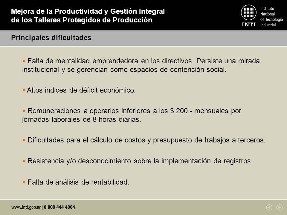 Mejora de la Productividad y Gestión Integral de los Talleres Protegidos de Producción