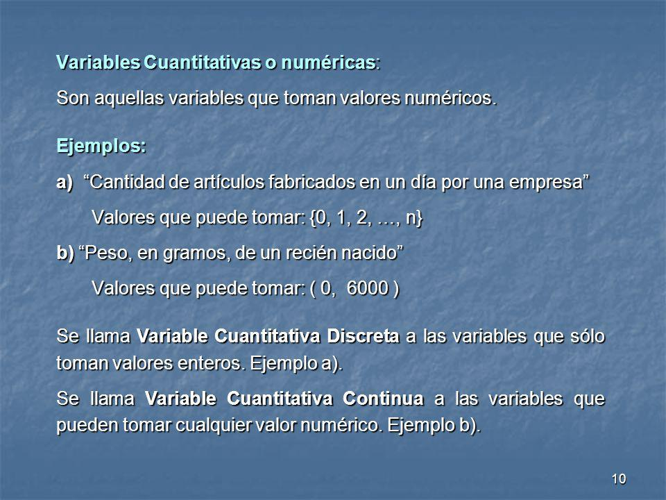 Variables Cuantitativas o numéricas: