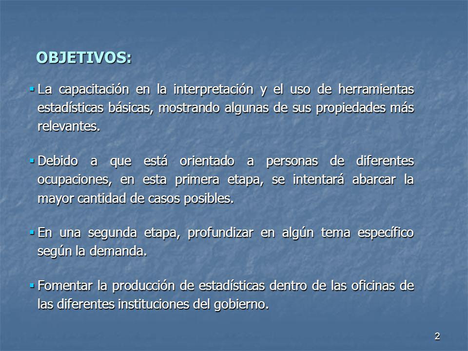 OBJETIVOS: La capacitación en la interpretación y el uso de herramientas estadísticas básicas, mostrando algunas de sus propiedades más relevantes.