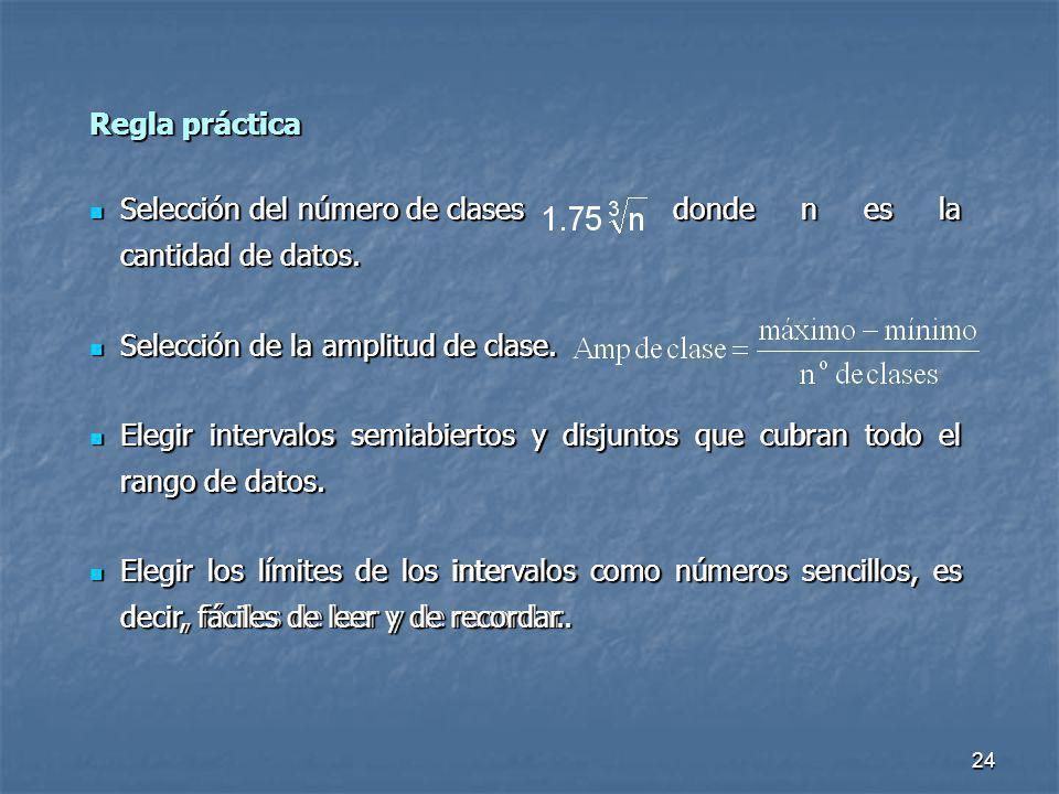 Regla práctica Selección del número de clases donde n es la cantidad de datos. Selección de la amplitud de clase.