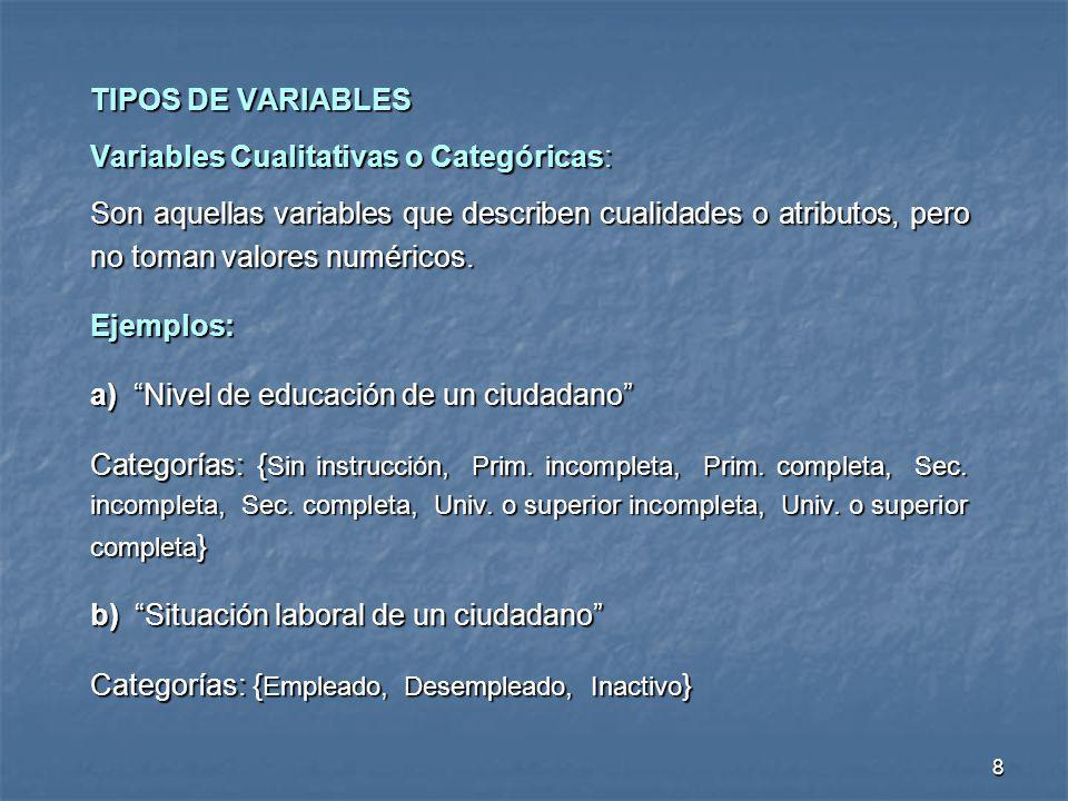 TIPOS DE VARIABLES Variables Cualitativas o Categóricas: