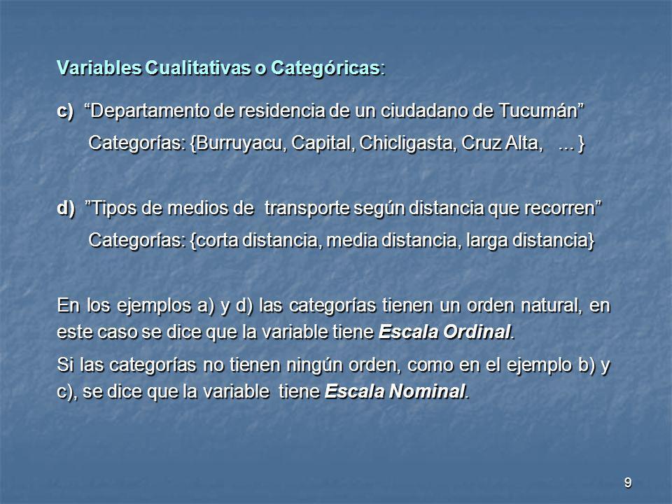 Variables Cualitativas o Categóricas: