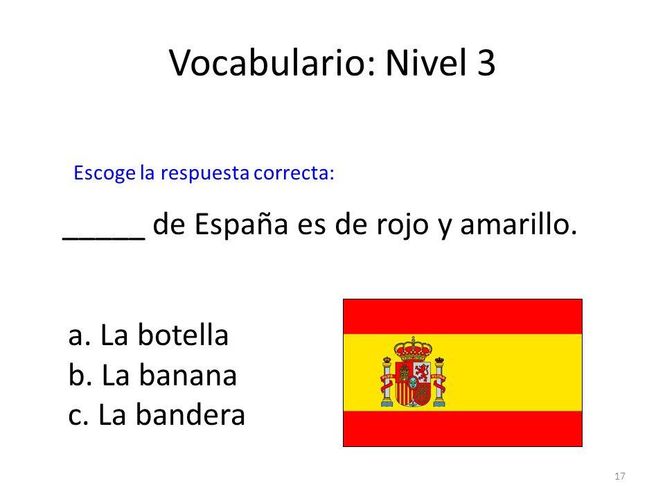 Vocabulario: Nivel 3 _____ de España es de rojo y amarillo.