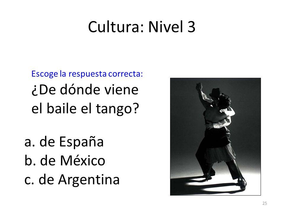 Cultura: Nivel 3 ¿De dónde viene el baile el tango a. de España