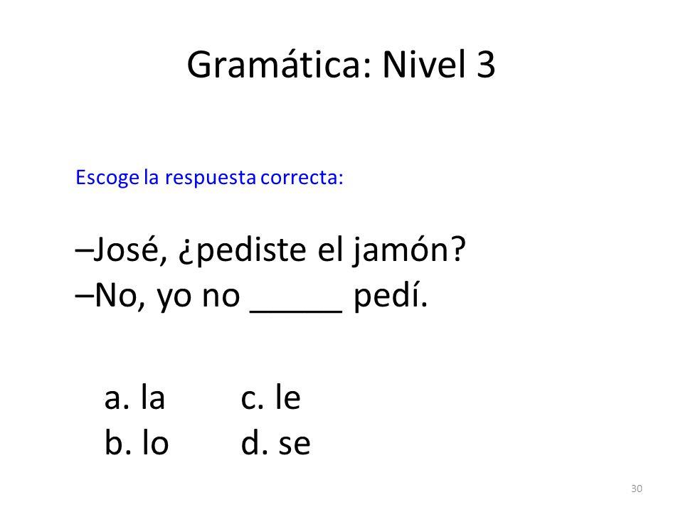 Gramática: Nivel 3 –José, ¿pediste el jamón –No, yo no _____ pedí.