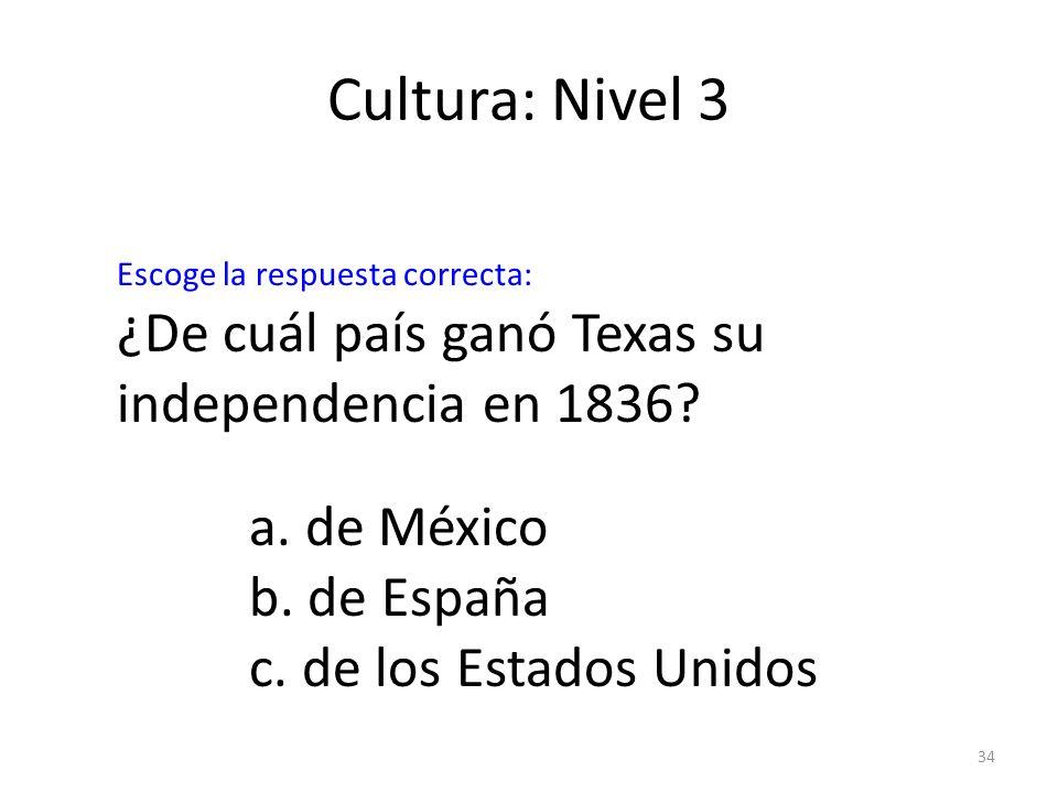 Cultura: Nivel 3 ¿De cuál país ganó Texas su independencia en 1836