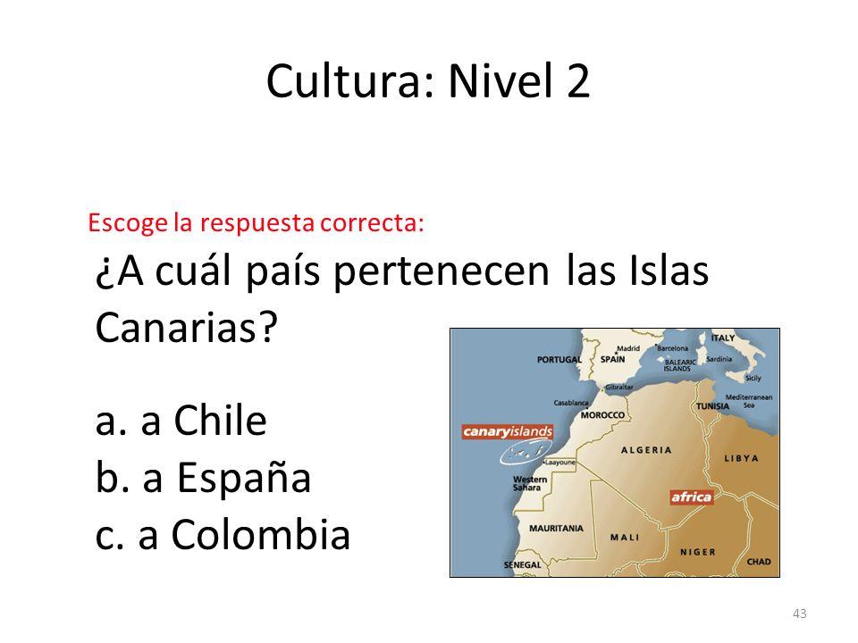 Cultura: Nivel 2 ¿A cuál país pertenecen las Islas Canarias