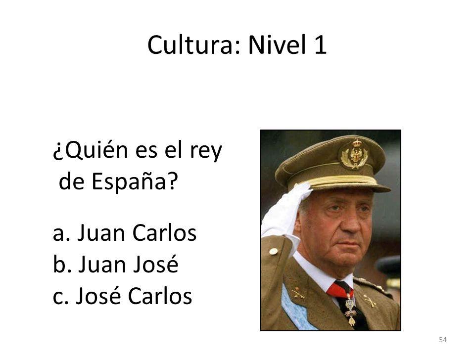Cultura: Nivel 1 ¿Quién es el rey de España a. Juan Carlos