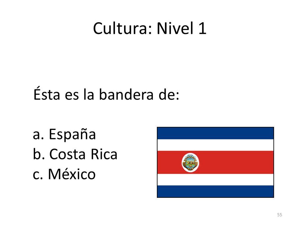 Cultura: Nivel 1 Ésta es la bandera de: a. España b. Costa Rica