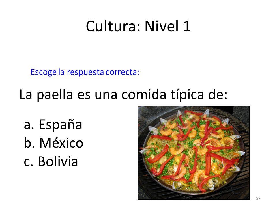 Cultura: Nivel 1 La paella es una comida típica de: a. España