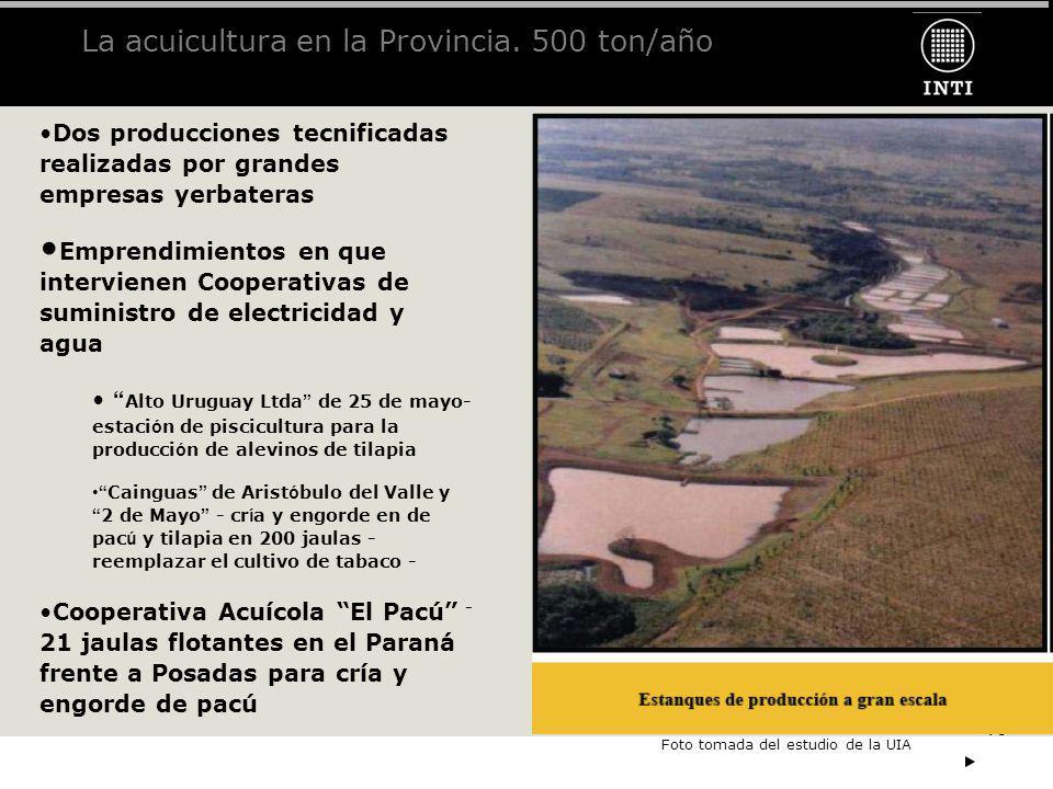 La acuicultura en la Provincia. 500 ton/año