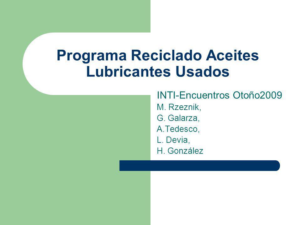 Programa Reciclado Aceites Lubricantes Usados