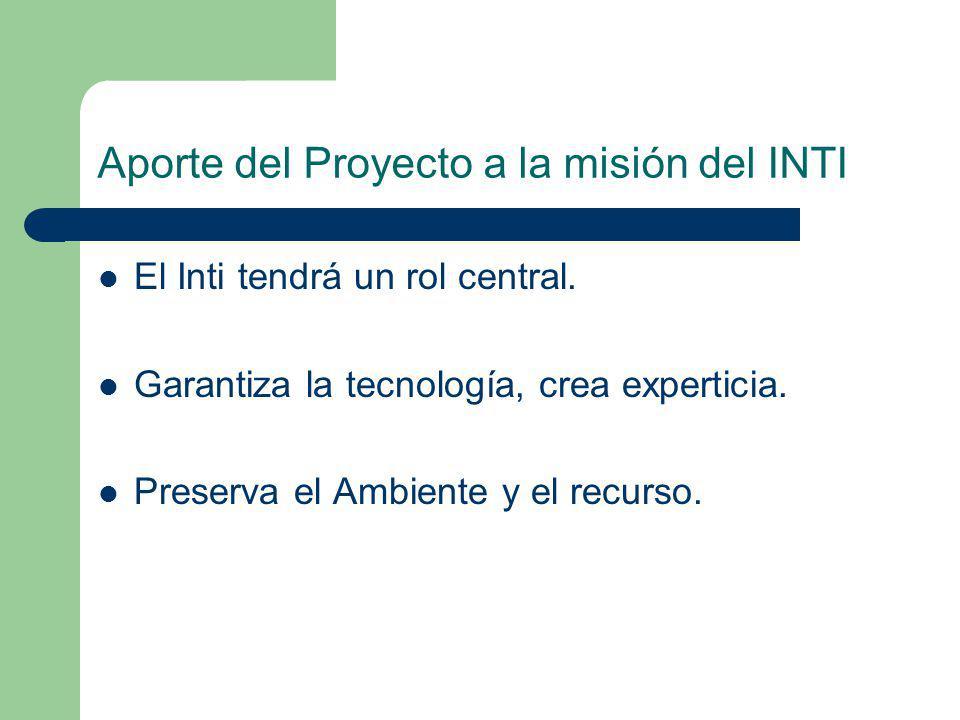 Aporte del Proyecto a la misión del INTI