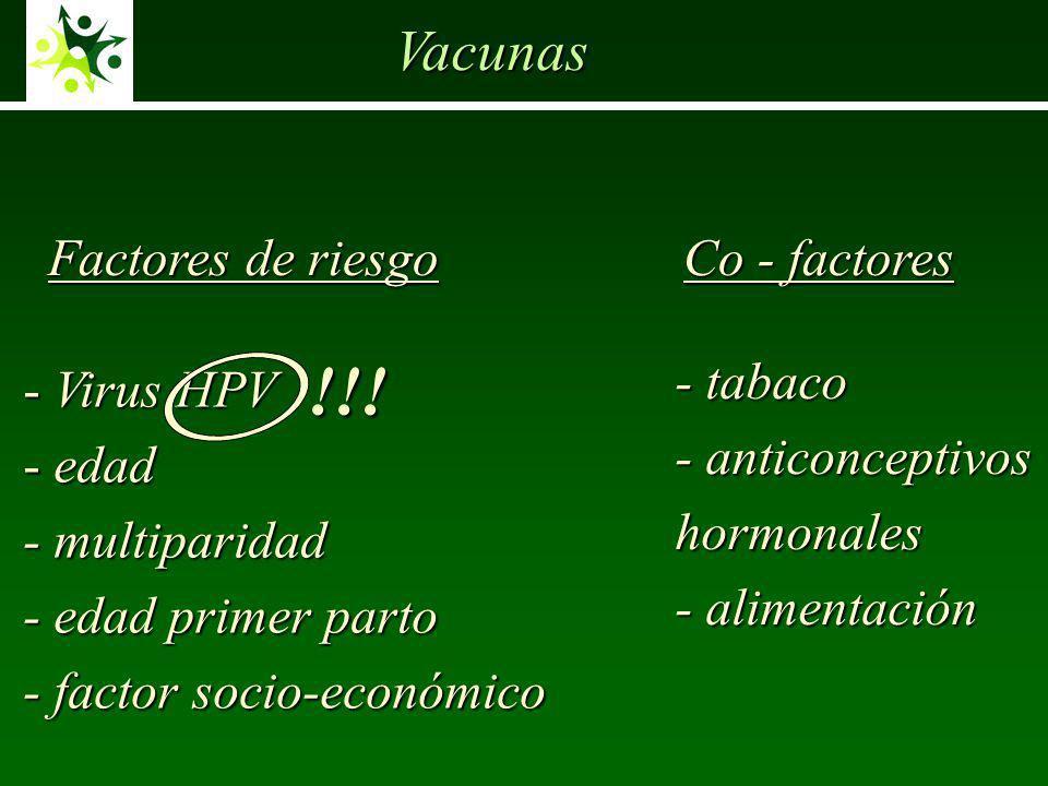 !!! Vacunas Factores de riesgo Co - factores - tabaco