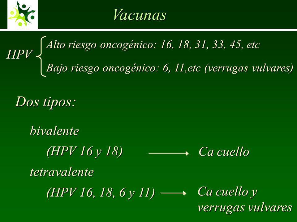 Vacunas Dos tipos: HPV bivalente (HPV 16 y 18) tetravalente Ca cuello