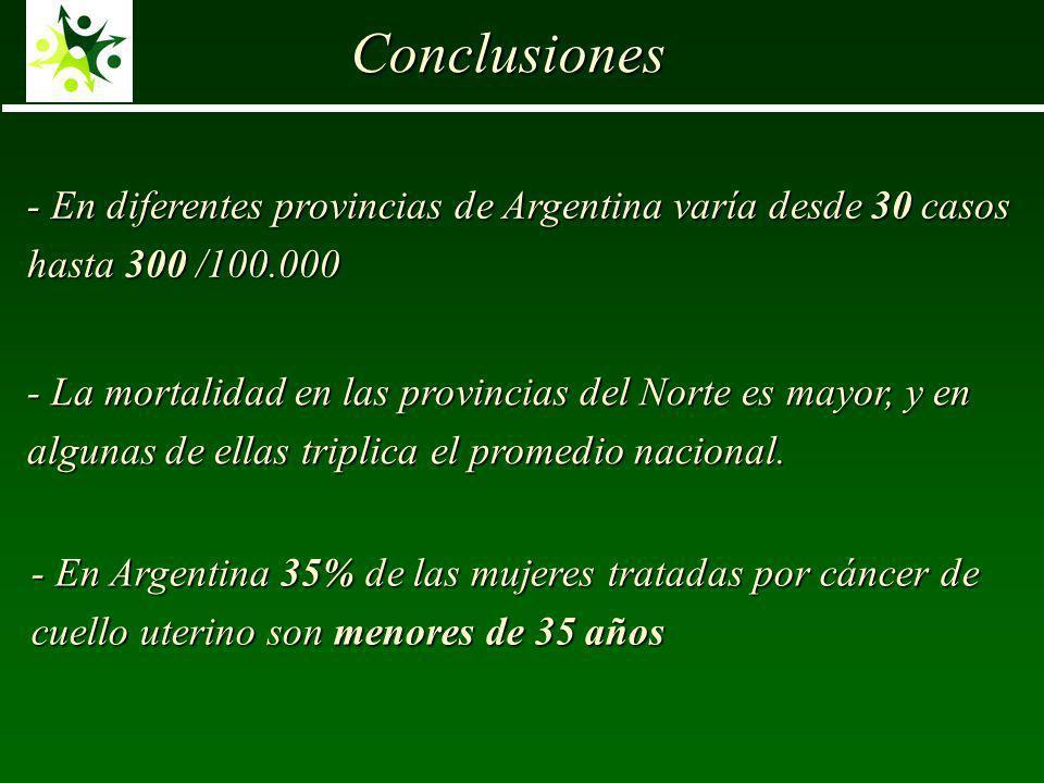 Conclusiones - En diferentes provincias de Argentina varía desde 30 casos hasta 300 /100.000.