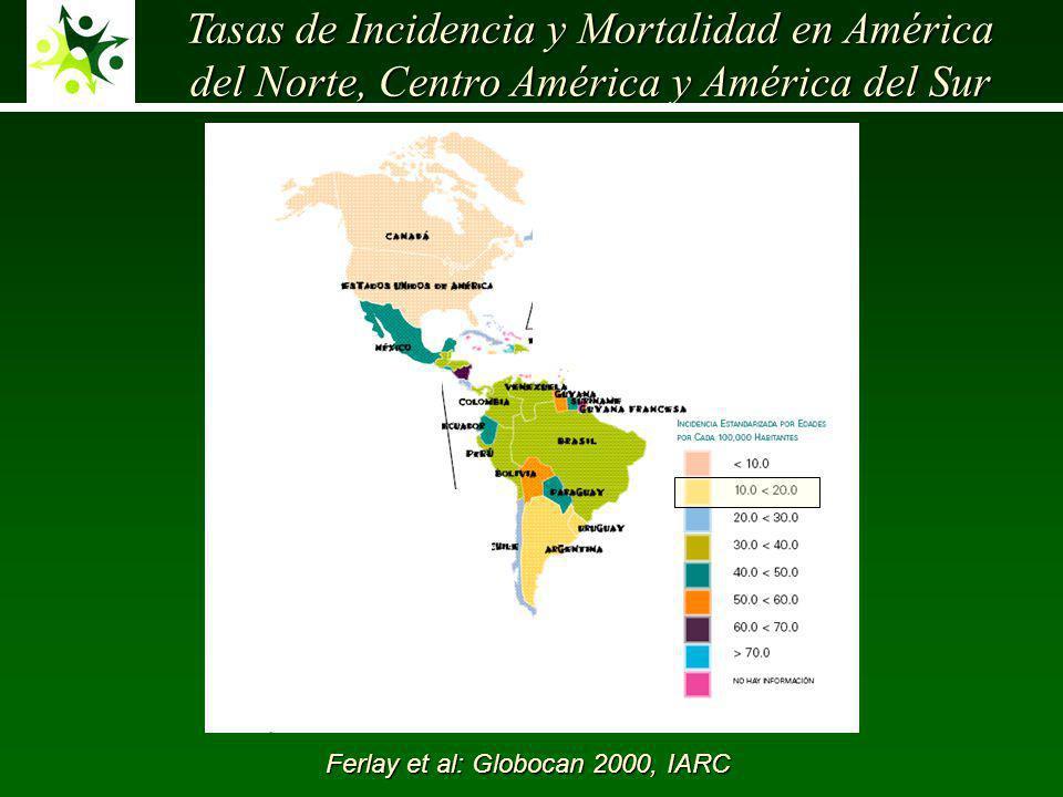 Tasas de Incidencia y Mortalidad en América del Norte, Centro América y América del Sur