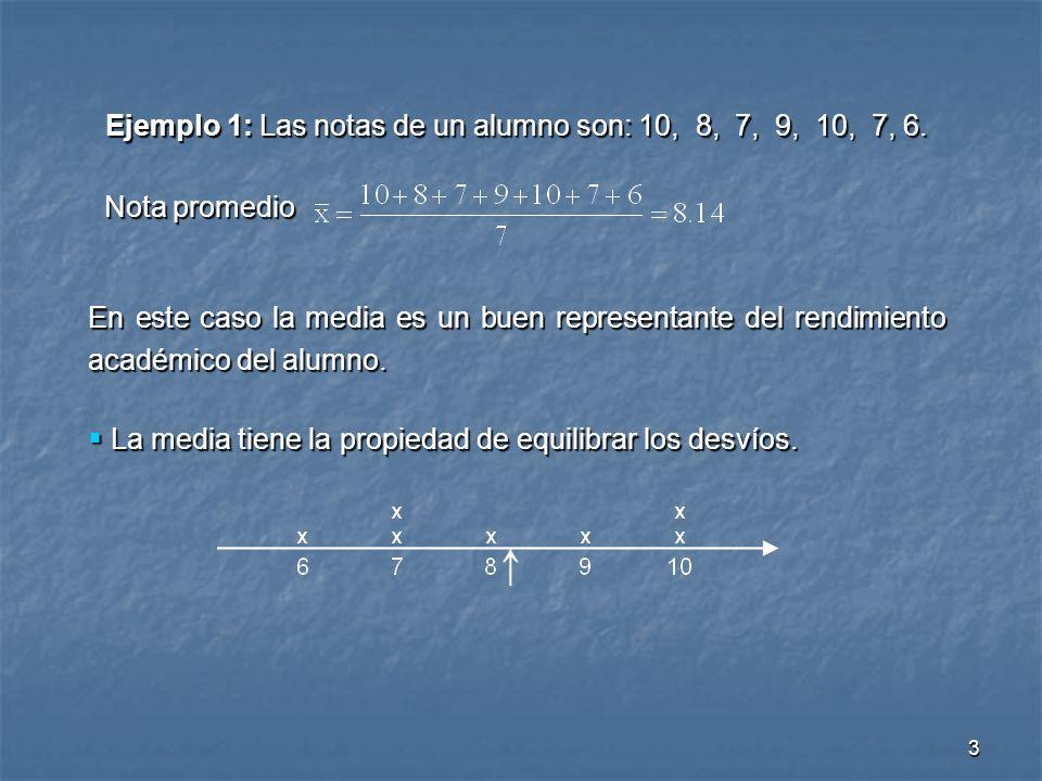Ejemplo 1: Las notas de un alumno son: 10, 8, 7, 9, 10, 7, 6.