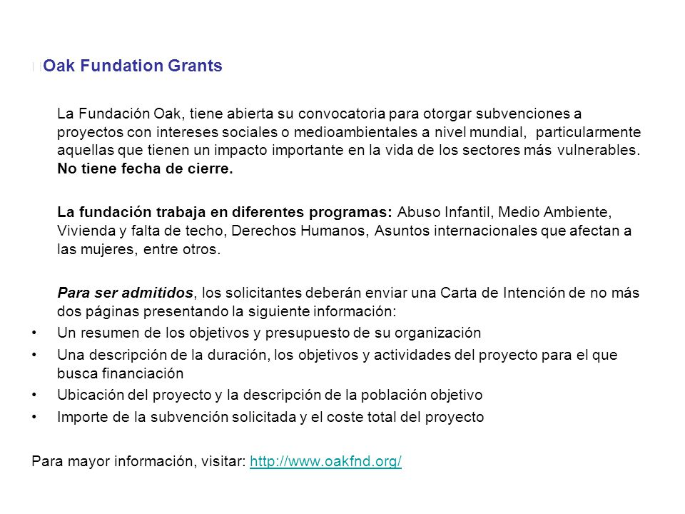 Oak Fundation Grants