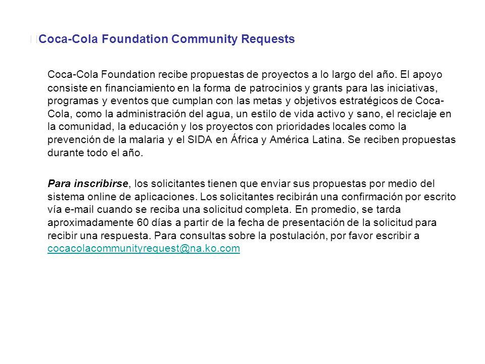 Coca-Cola Foundation Community Requests