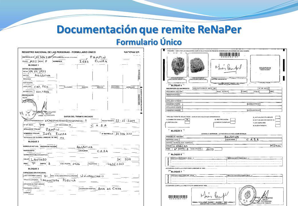 Documentación que remite ReNaPer Formulario Único Formulario Único