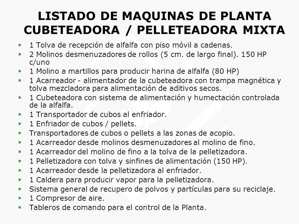 LISTADO DE MAQUINAS DE PLANTA CUBETEADORA / PELLETEADORA MIXTA