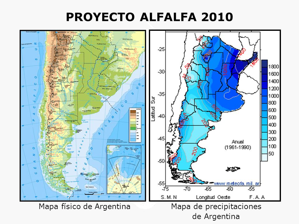 PROYECTO ALFALFA 2010 Mapa físico de Argentina Mapa de precipitaciones