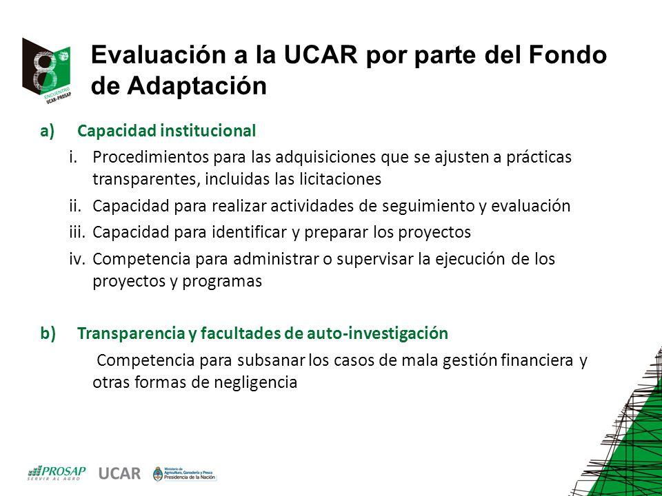 Evaluación a la UCAR por parte del Fondo de Adaptación