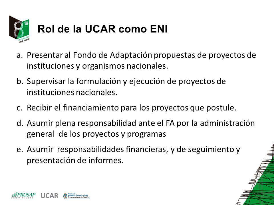 Rol de la UCAR como ENI Presentar al Fondo de Adaptación propuestas de proyectos de instituciones y organismos nacionales.