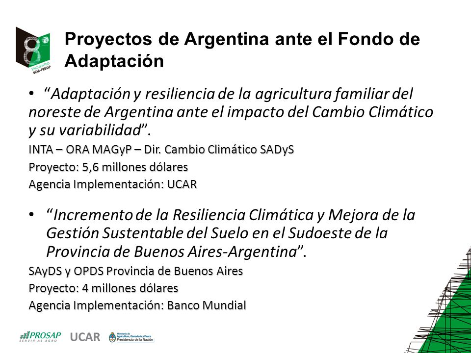 Proyectos de Argentina ante el Fondo de Adaptación