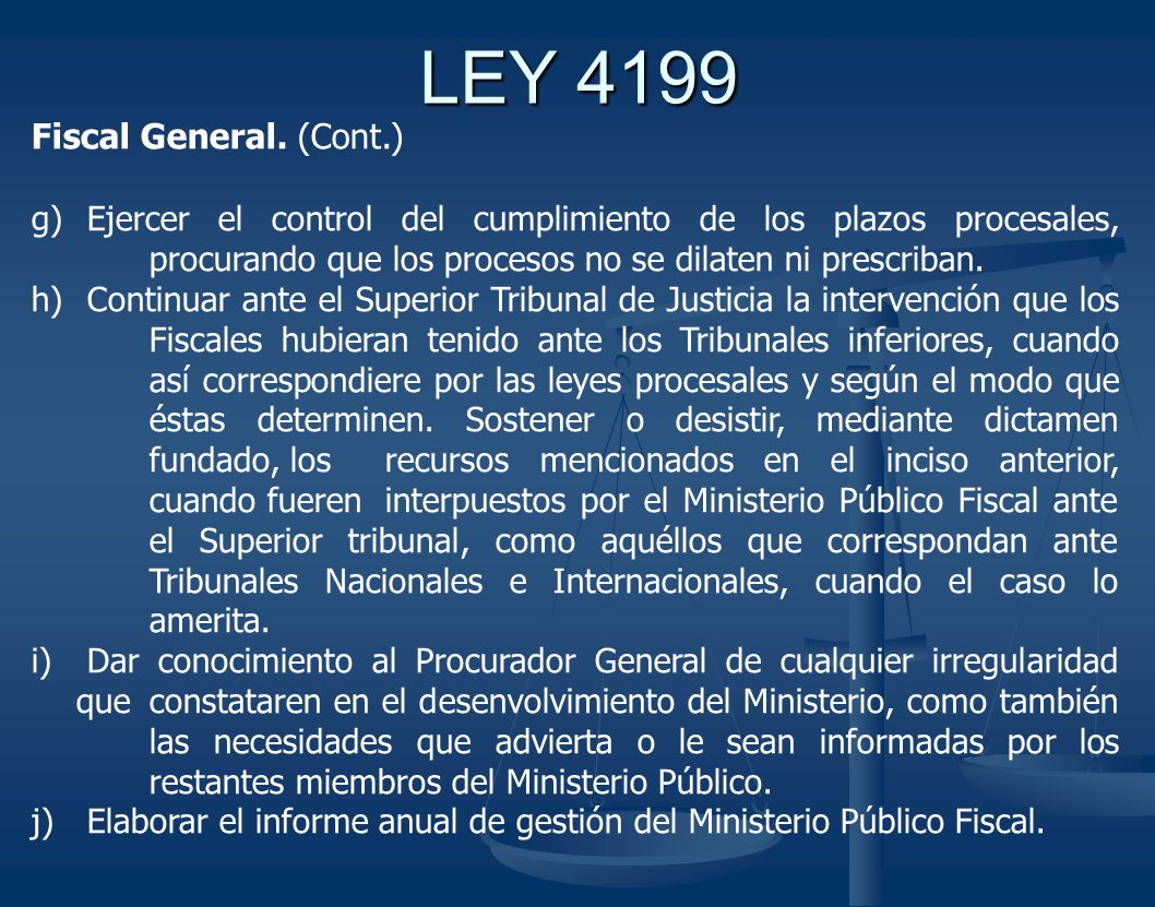 LEY 4199 Fiscal General. (Cont.)