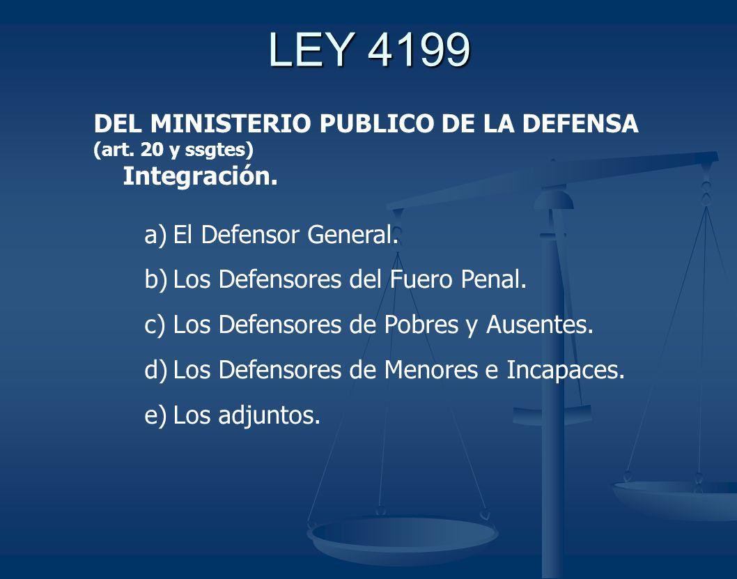 LEY 4199 DEL MINISTERIO PUBLICO DE LA DEFENSA Integración.