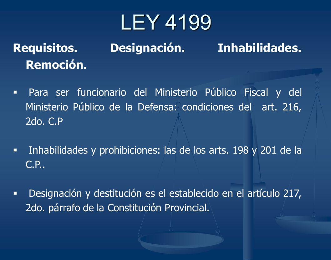 LEY 4199 Requisitos. Designación. Inhabilidades. Remoción.