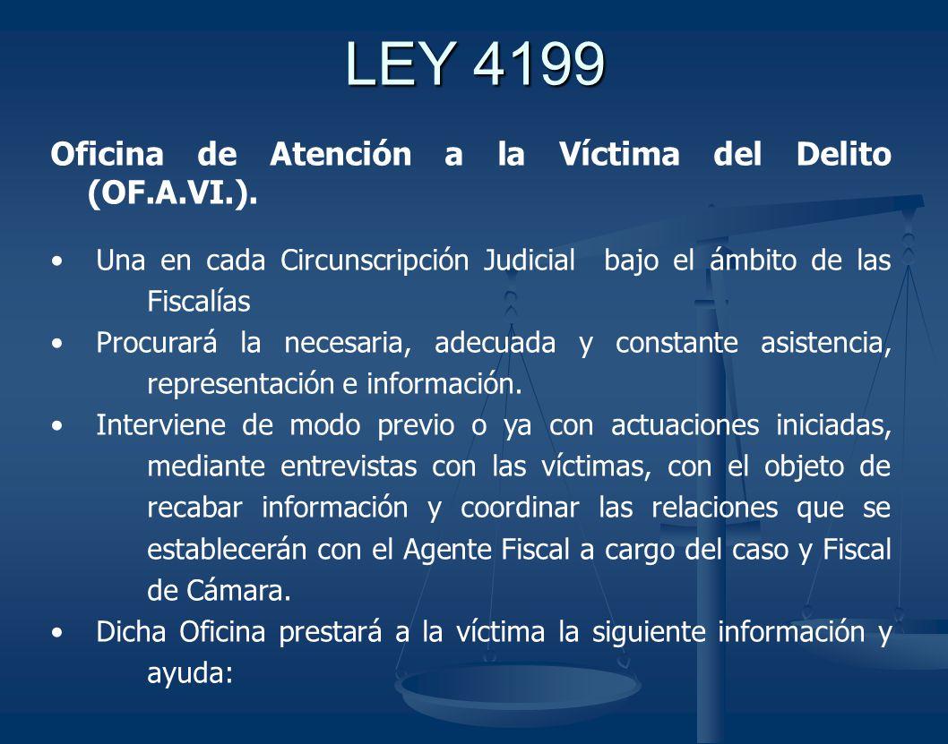 LEY 4199 Oficina de Atención a la Víctima del Delito (OF.A.VI.).
