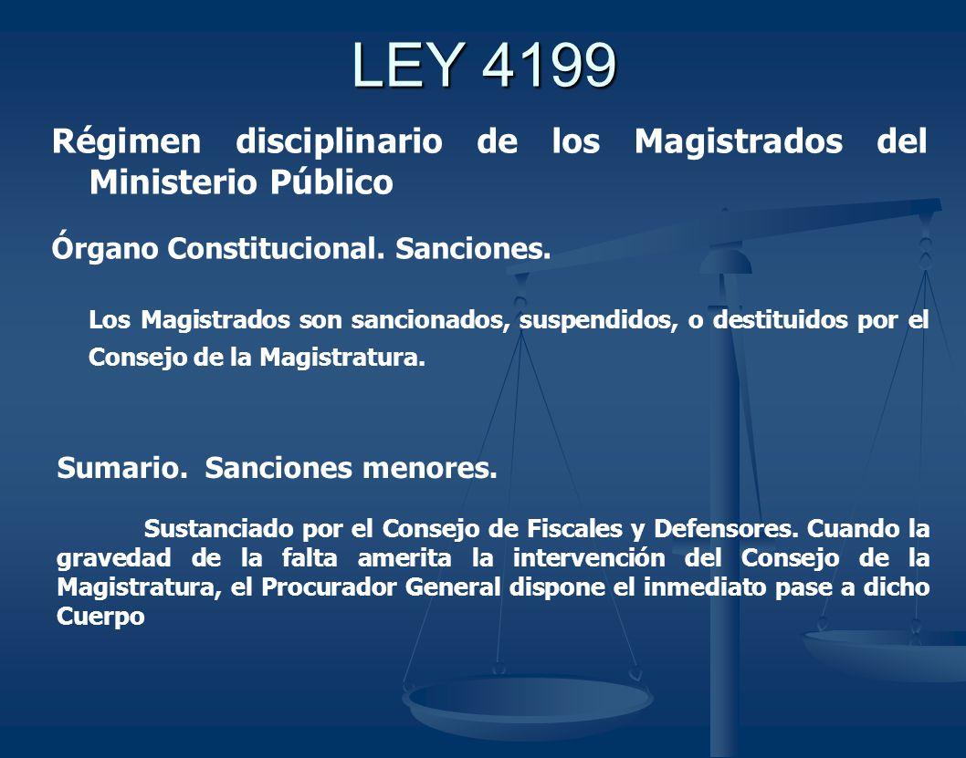 LEY 4199 Régimen disciplinario de los Magistrados del Ministerio Público. Órgano Constitucional. Sanciones.