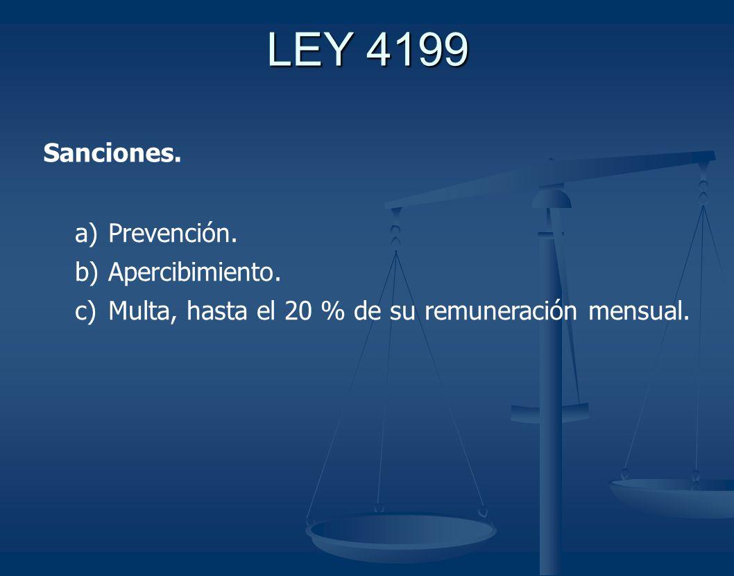 LEY 4199 Sanciones. Prevención. Apercibimiento.