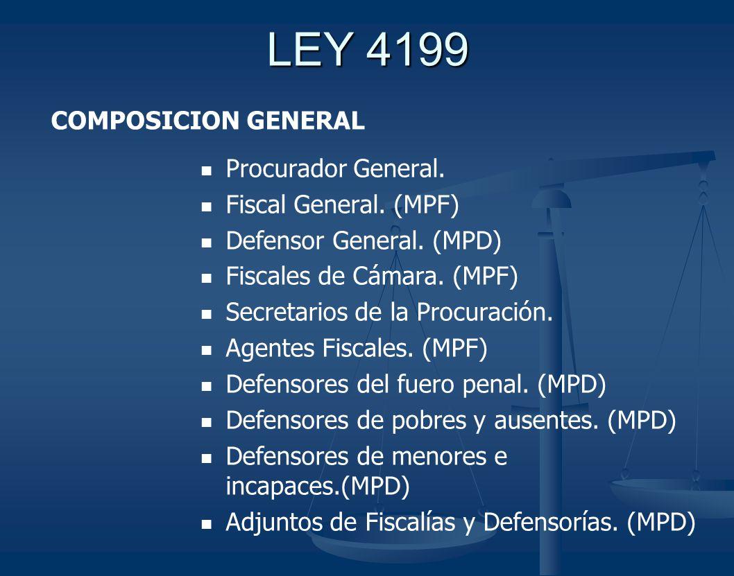 LEY 4199 COMPOSICION GENERAL Procurador General. Fiscal General. (MPF)
