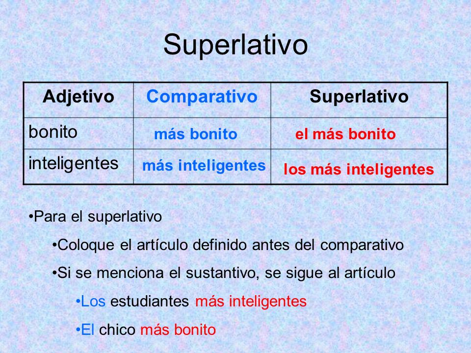 Superlativo Adjetivo Comparativo Superlativo bonito inteligentes