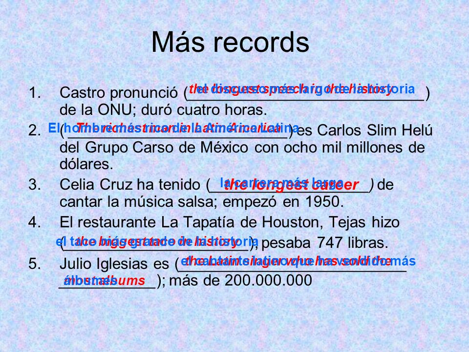 Más records the longest speech in the history. el discurso más largo de la historia.