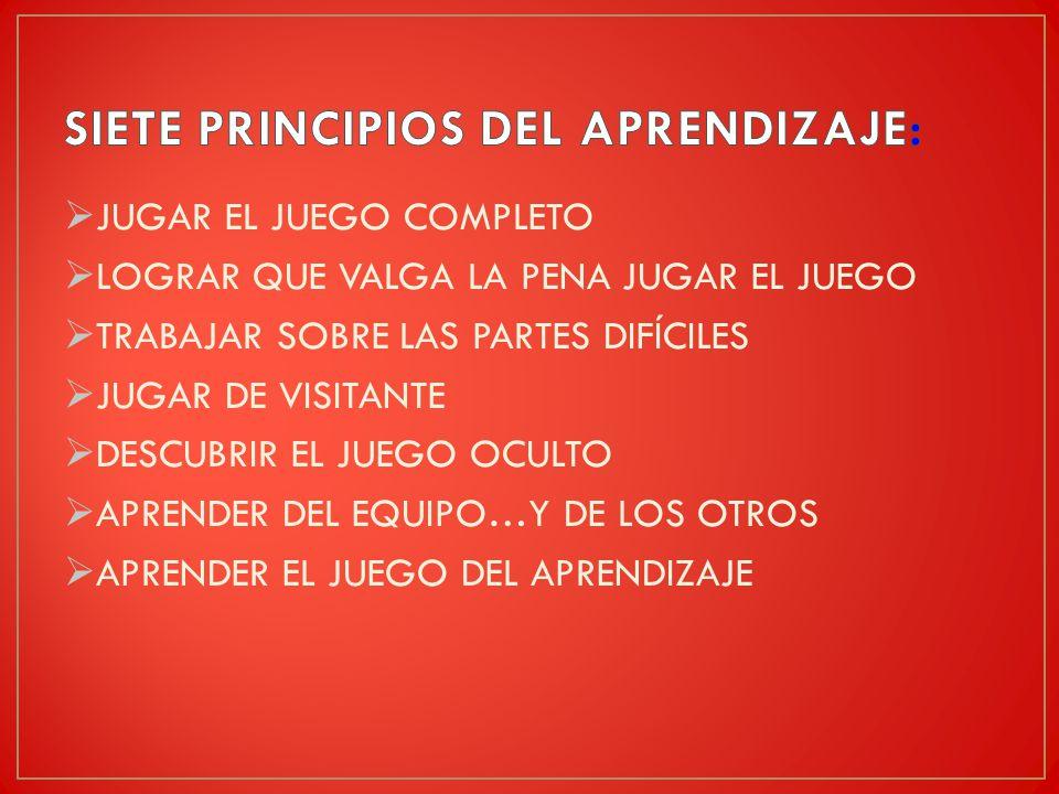 SIETE PRINCIPIOS DEL APRENDIZAJE: