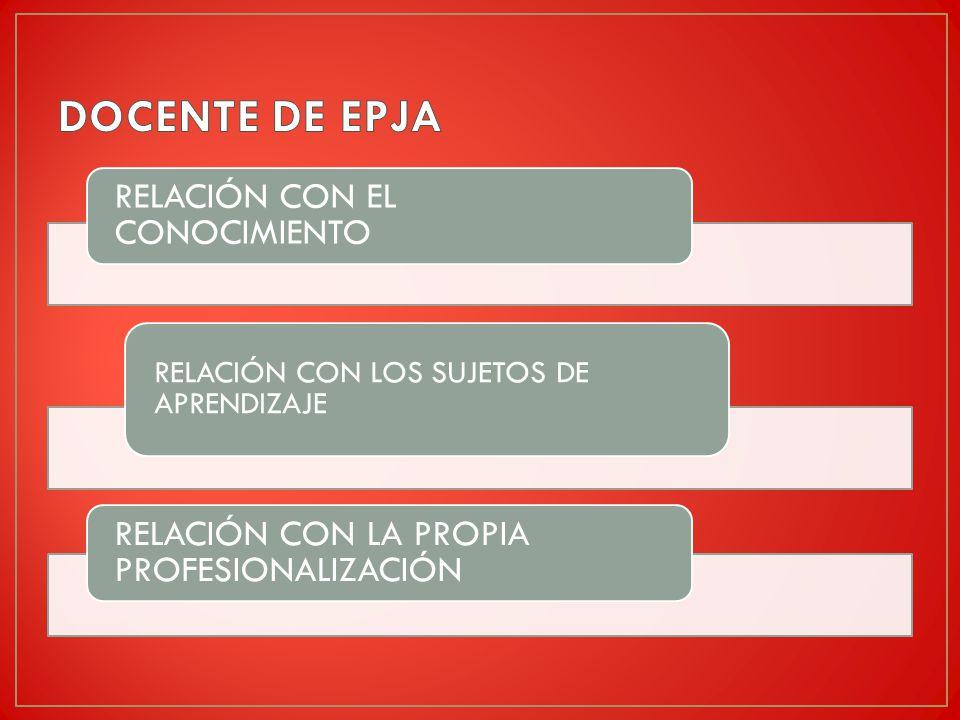 DOCENTE DE EPJA RELACIÓN CON EL CONOCIMIENTO