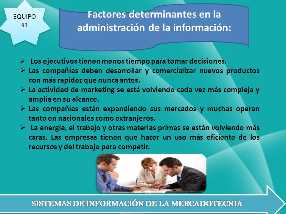 Factores determinantes en la administración de la información: