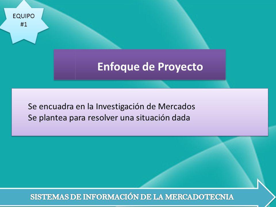 Enfoque de Proyecto Se encuadra en la Investigación de Mercados
