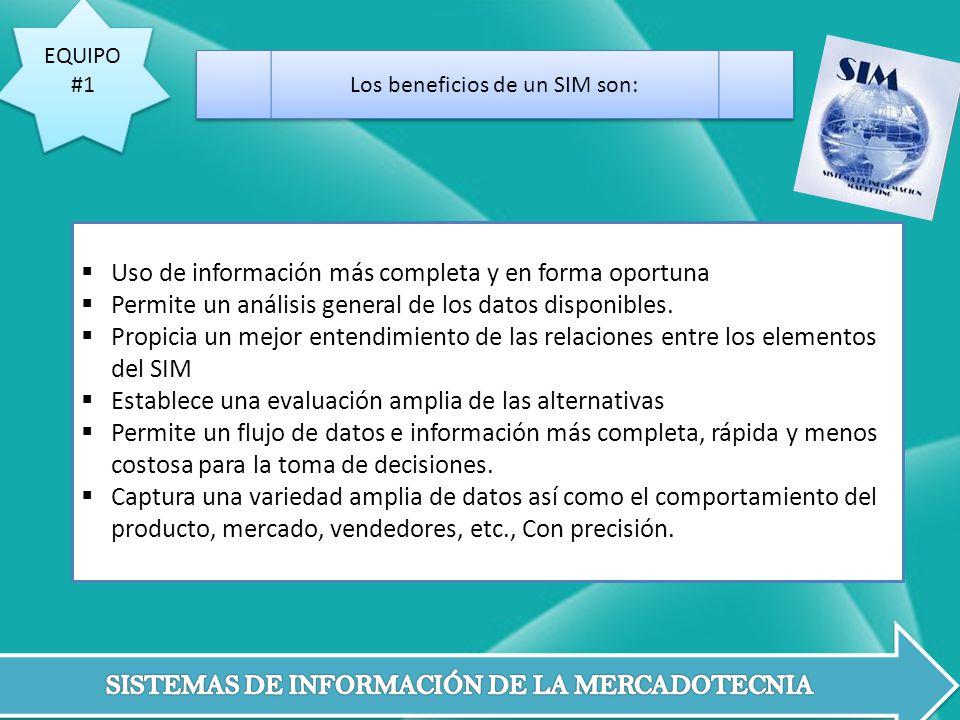 Los beneficios de un SIM son: