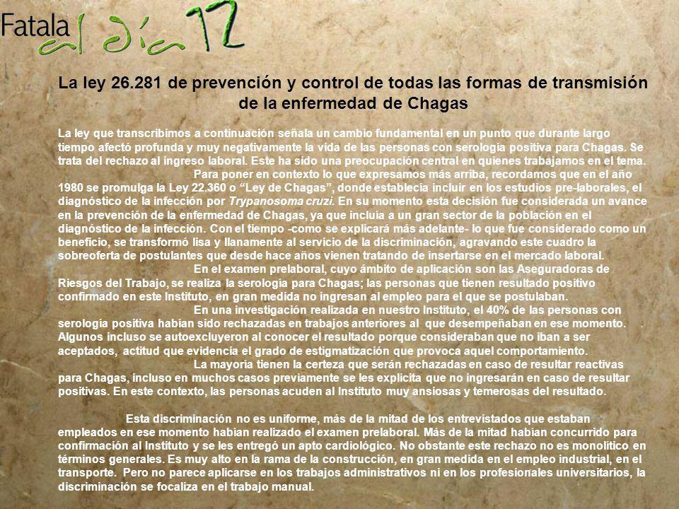 La ley 26.281 de prevención y control de todas las formas de transmisión de la enfermedad de Chagas