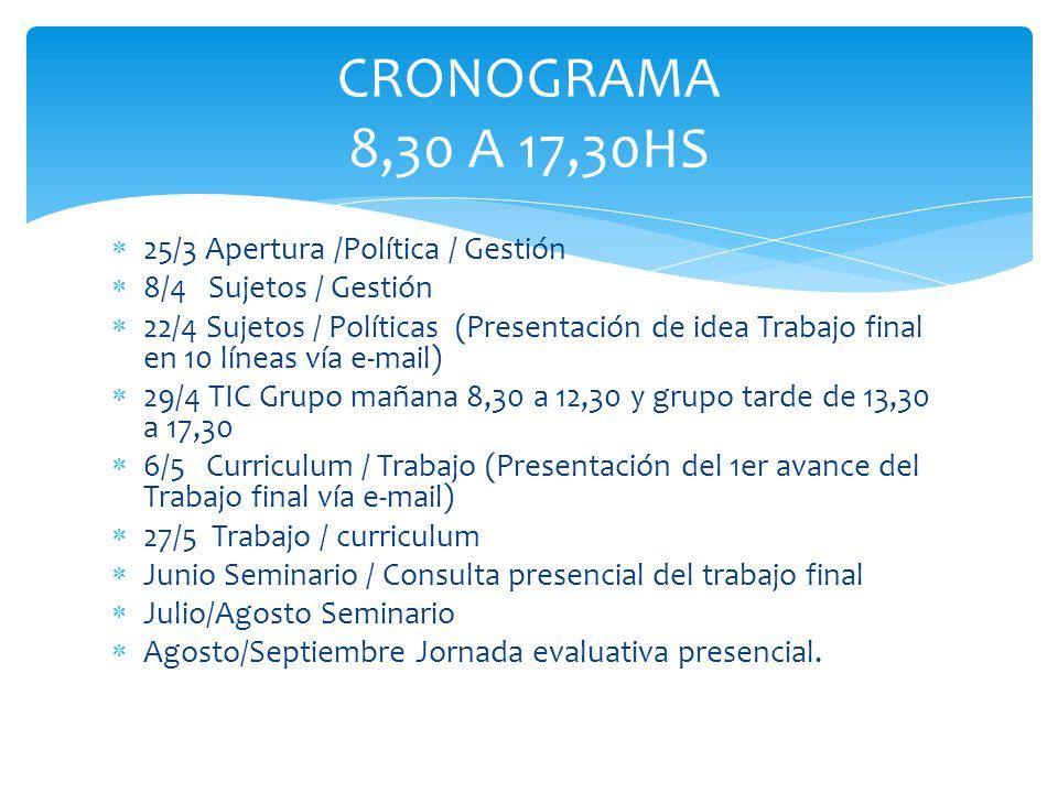 CRONOGRAMA 8,30 A 17,30HS 25/3 Apertura /Política / Gestión