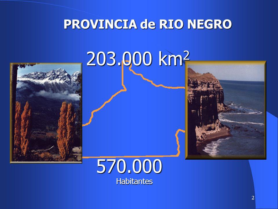 PROVINCIA de RIO NEGRO 203.000 km2 570.000 Habitantes