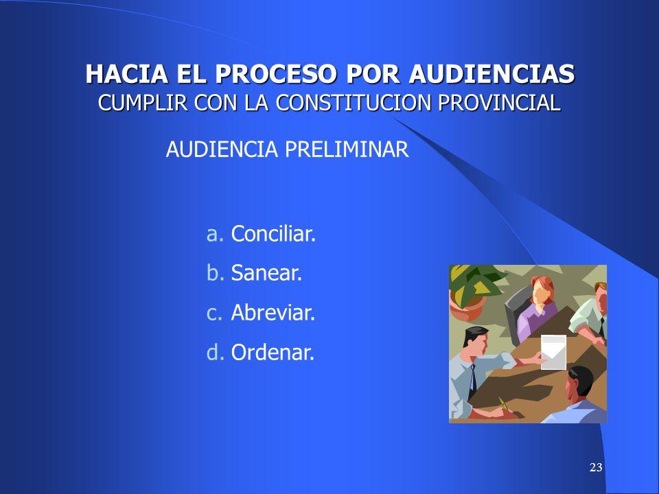 HACIA EL PROCESO POR AUDIENCIAS CUMPLIR CON LA CONSTITUCION PROVINCIAL
