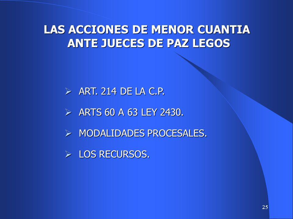 LAS ACCIONES DE MENOR CUANTIA ANTE JUECES DE PAZ LEGOS